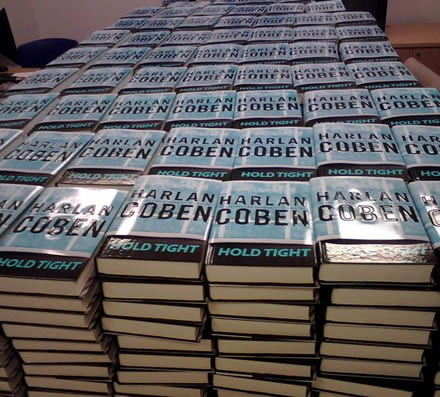 A Stack of HOLD TIGHT at Harlan's Publisher's Office