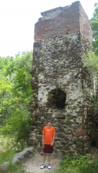 Ben in front of ruins from an 18th century ghost town in Pine Barrons NJ